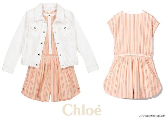 Princess Gabriella wore Chloe Kids stripe print cap-sleeves playsuit