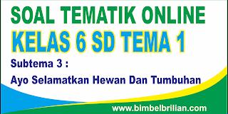 Soal Tematik Online Kelas 6 SD Tema 1 Subtema 3 Ayo Selamatkan Hewan Dan Tumbuhan - Langsung Ada Nilainya