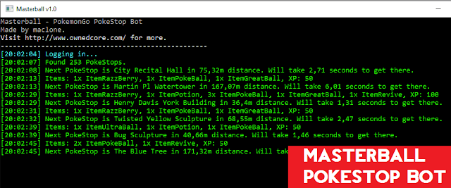 Masterball v 1.0 - PokeStop Bot hanya Farming PokeStops