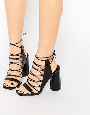 Black leather ghillie lace up heeled sandals, $273.36 from Senso Niala