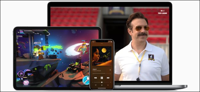خدمات Apple One على iPad و iPhone و MacBook.