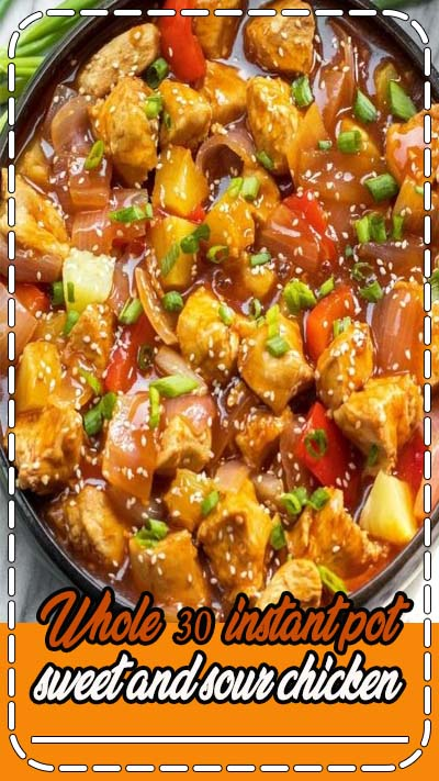 Whole30 instant pot sweet and sour chicken is so easy and so quick to make, and there's skillet instructions too! It's completely Paleo, sugar free, gluten free, and made in less 30 minutes. The simplicity of this recipe makes it perfect for a weeknight meal that's family friendly, or for Whole30 meal prep. #whole30instantpot #instantpotsweetandsour #sweetandsourchicken #whole30chicken #paleoinstantpot