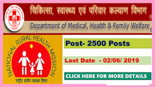 Rajasthan Community Health Officer Recruitment 2019 - Apply Online for 2500 Post of CHO