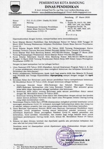 Disdik Kota Bandung Perpanjang Belajar Jarak Jauh Sampai 11 April 2020