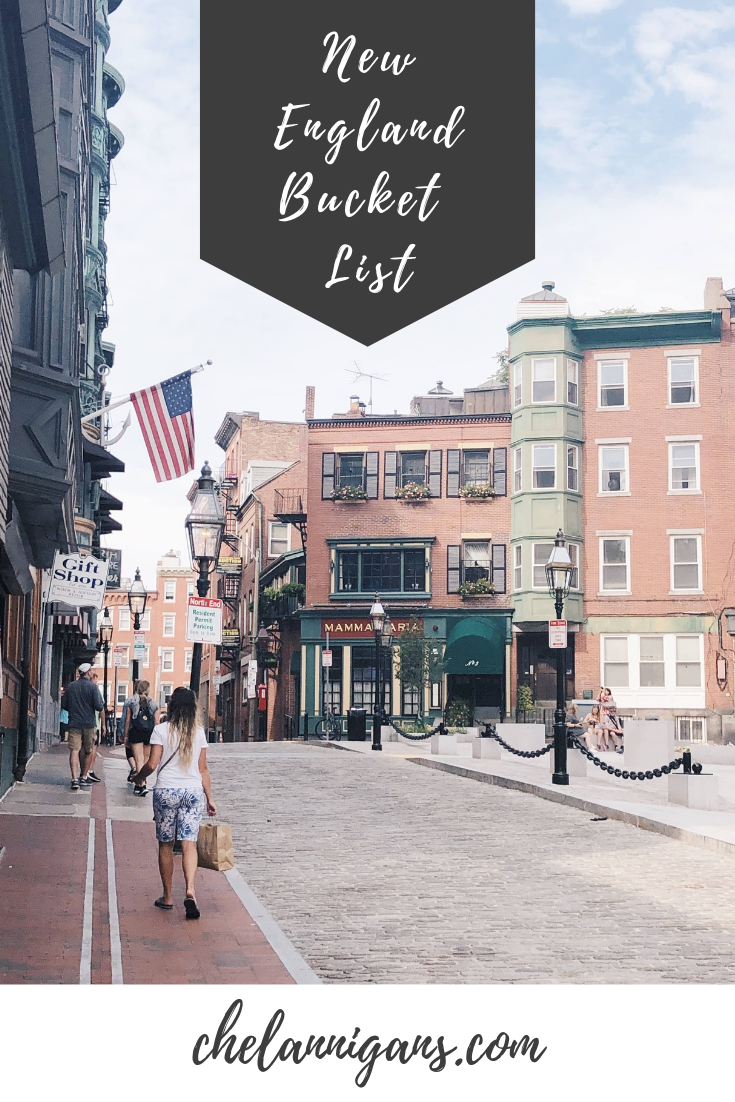 Girl walking a cobblestone street in downtown Boston with text overlay - New England Bucket List