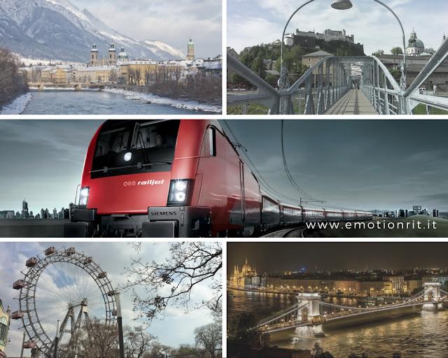 viaggio in treno tra Innsbruck a Budapest