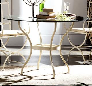 mesa forja cristal redonda