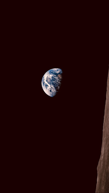 Planet Earth seen from the surface of the moon