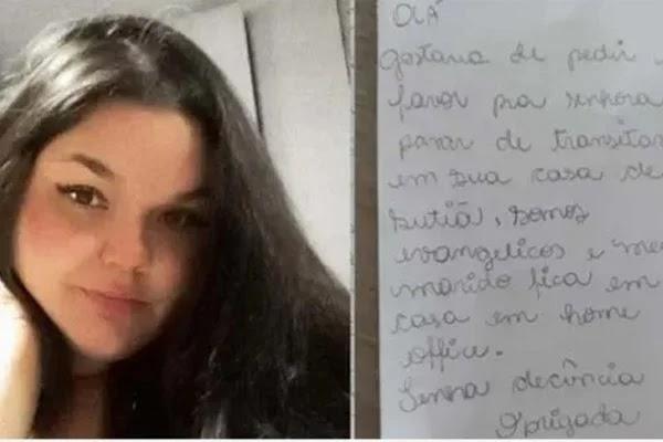 """Esposa evangélica manda bilhete a vizinha pedindo que não ande de sutiã em casa: """"Tenha decência"""""""