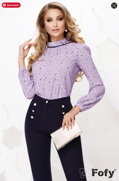 Bluza  eleganta dama lila din voal cu guler sal si accesoriu inclus