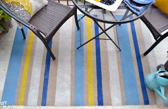 how to paint stripes on an outdoor rug