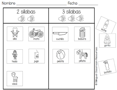 How Many Syllables? Worksheets in Spanish- ¿Cuántas sílabas?