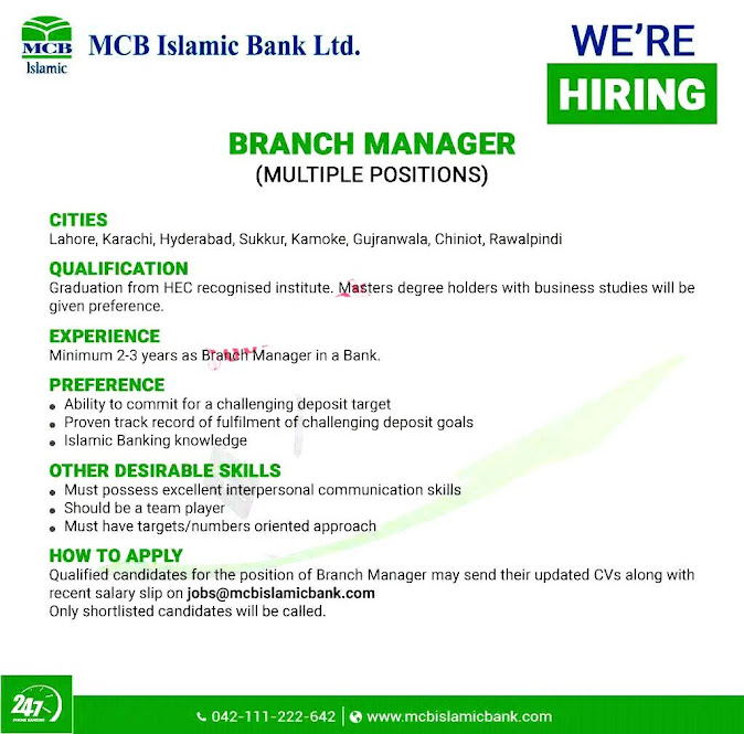 New Jobs in MCB Islamic Bank Limited May 2021