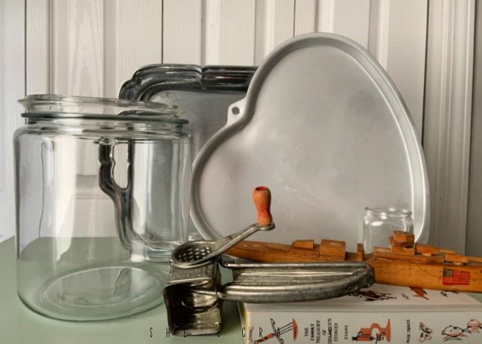 thrift store haul - heart baking pan, glass jar