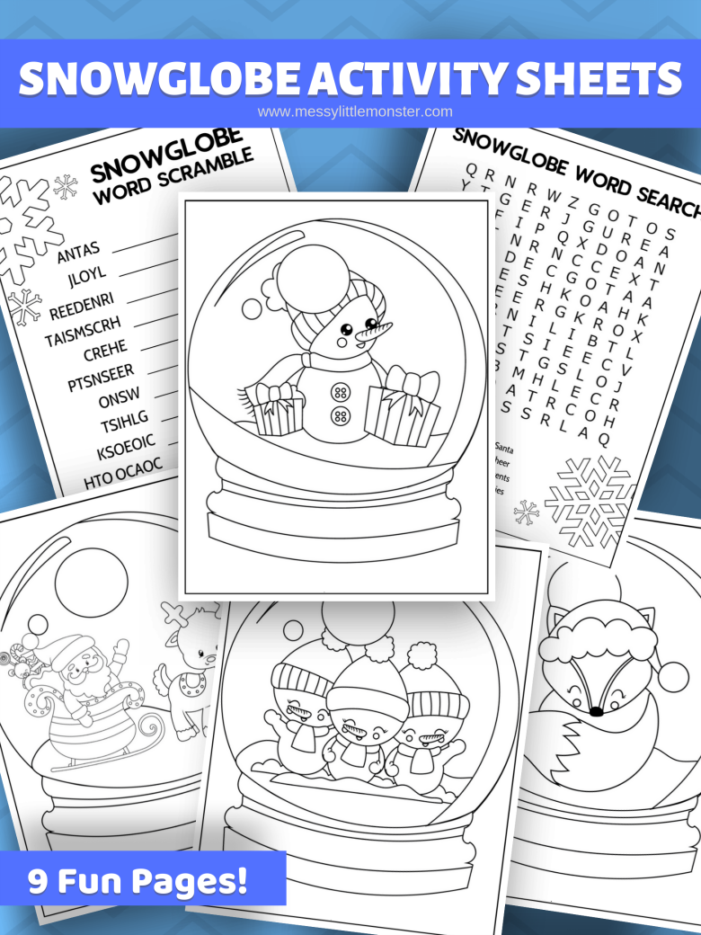 Free printable snow globe colouring activity pages for kids.