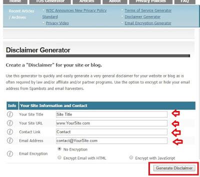 Cara Membuat Disclaimer Blog Secara Online dan Langsung Jadi