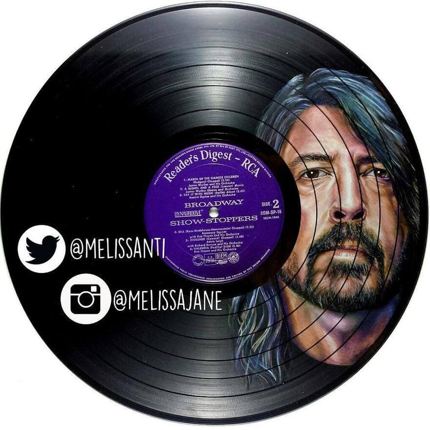 11-Dave-Grohl-Melissa-Jane-Celebrity-Portrait-Drawings-On-Used-Vinyl-Records-www-designstack-co