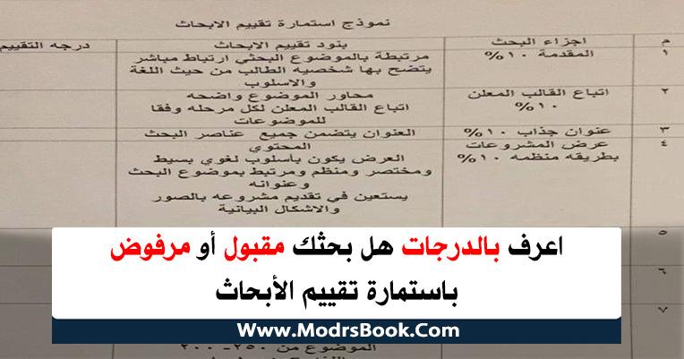 نموذج استمارة تقييم الأبحاث لجميع المراحل ابتدائي واعدادي