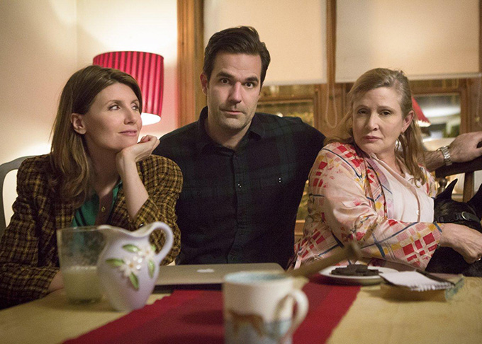 Sharon Horgan, Rob Delaney y Carrie Fisher en Catastrophe