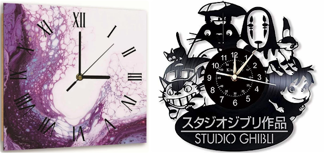 A square purple clock and a clock made from a vinyl record in an anime design.