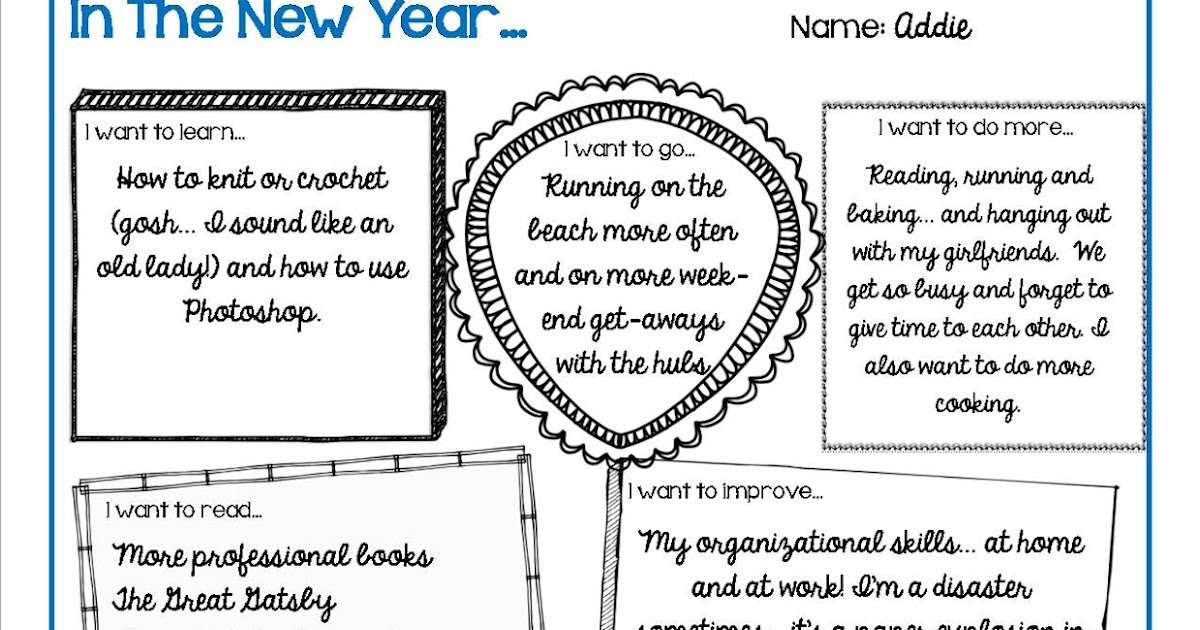 New Year\'s Goals and Resolutions Activity - FREE - Addie Williams ...
