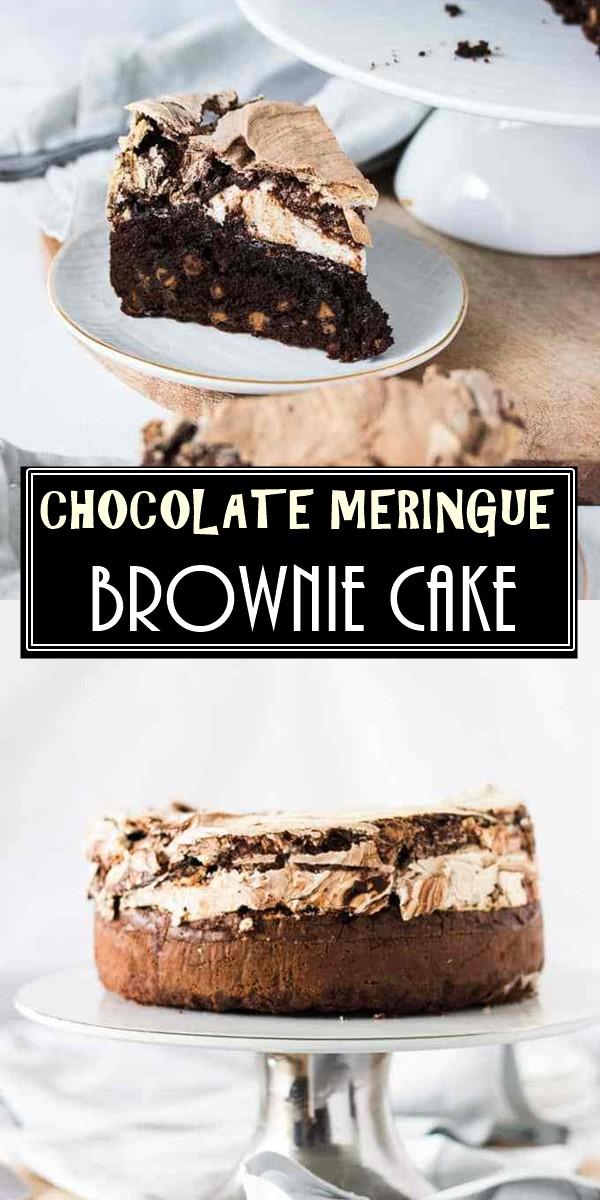 CHOCOLATE MERINGUE BROWNIE CAKE #cakerecipes