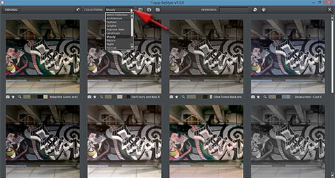 Collections drop down list in grid view in Topaz ReStyle