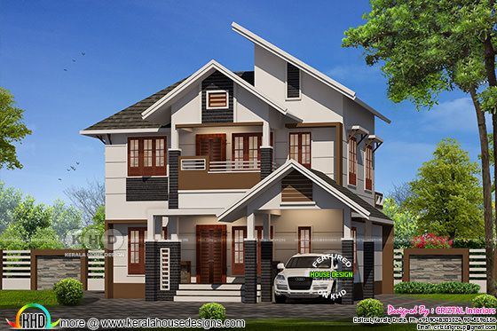 1698 square feet, 5 bedroom sloping roof home