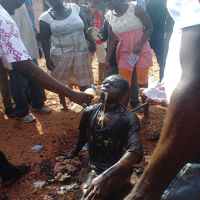 Mobs give a robber diesel oil for stealing a phone in Achimota