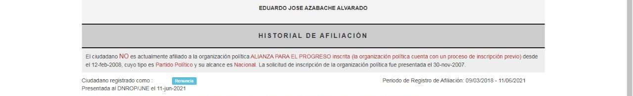 Captura del ROP sobre situación de Eduardo Azabache