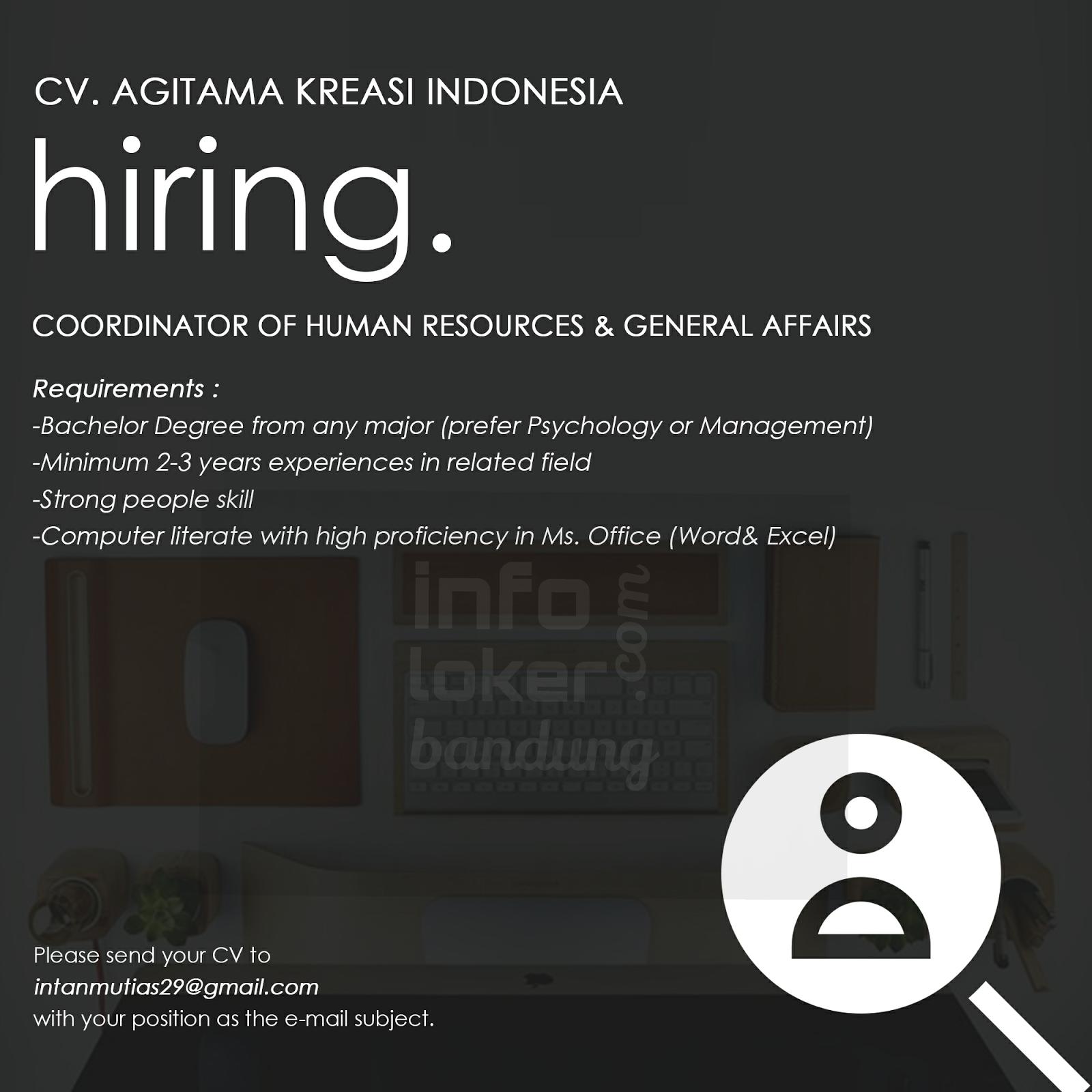 Lowongan Kerja CV. Agitama Kreasi Indonesia Februari 2017