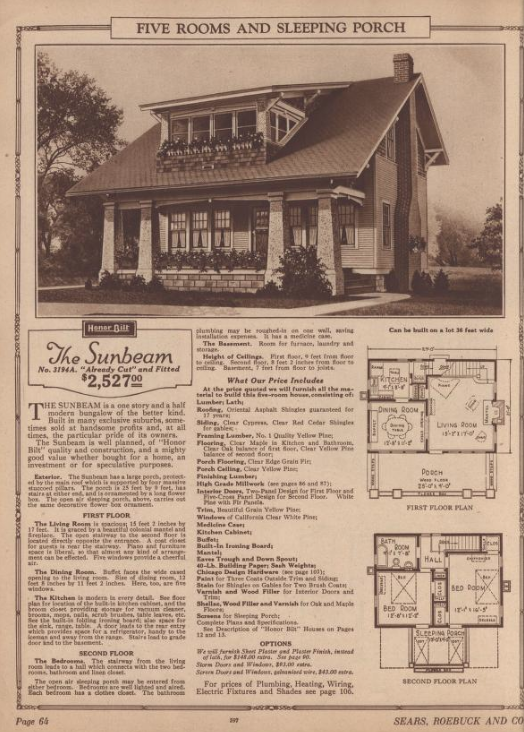 page from 1925 Sears Modern Homes catalog showing Sunbeam model