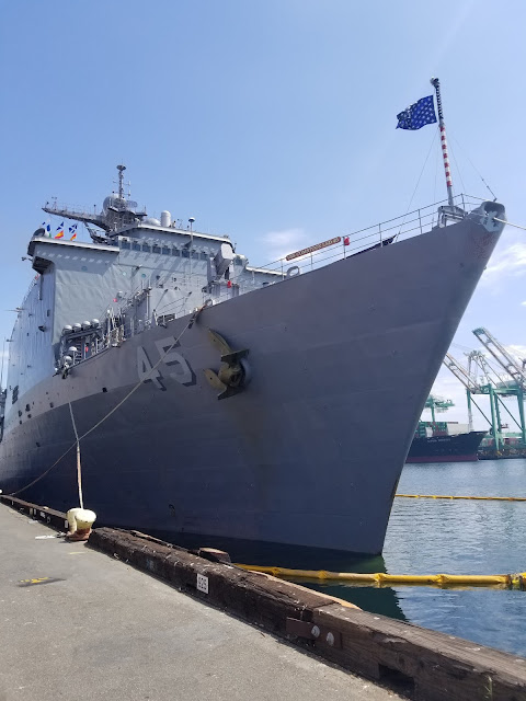 LA Fleet Week 2019 LA Waterfront San Pedro Port of Los Angeles, California Bow USS Comstock LSD-45 flag