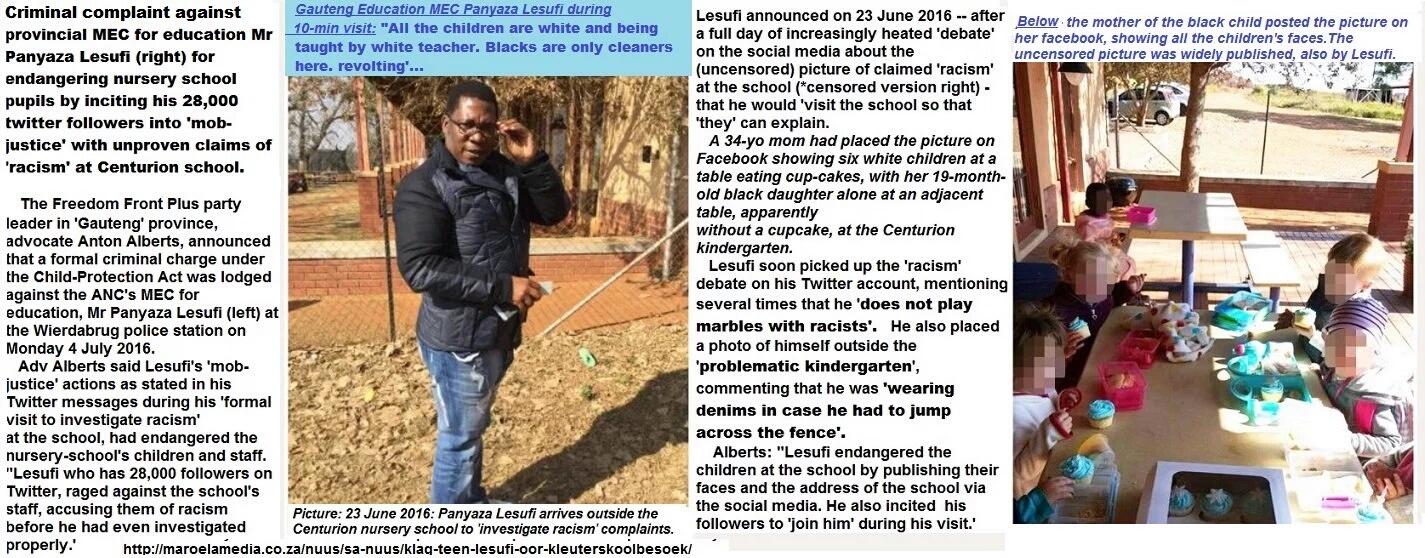 #Racism: UPDATE: Criminal charge against MEC Lesufi for mob-justice incitement - endangering children at nursery school