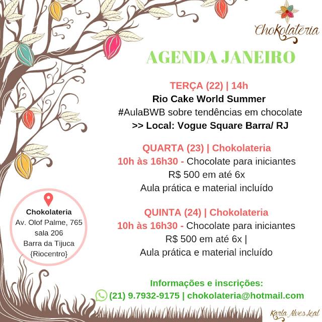Aulas de Confeitaria Criativa - Agenda de Aulas | Janeiro 2019