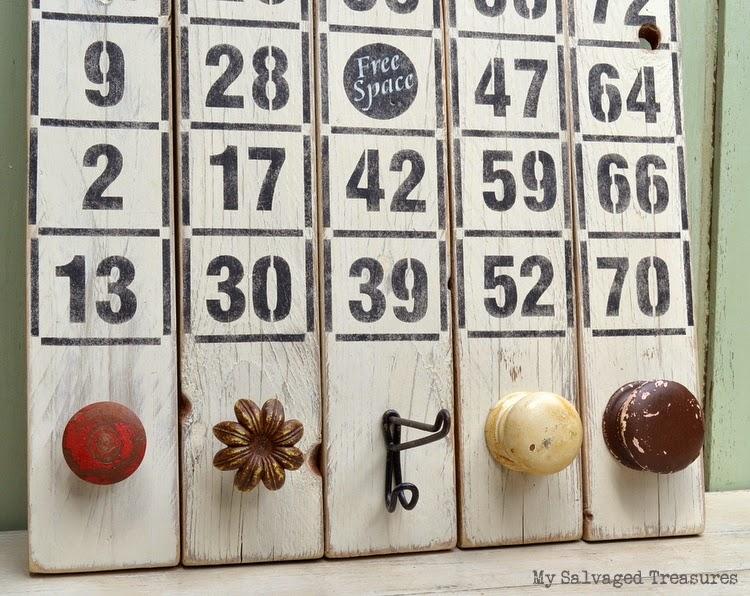 stenciled Bingo boards with vintage hooks knobs MySalvagedTreasures