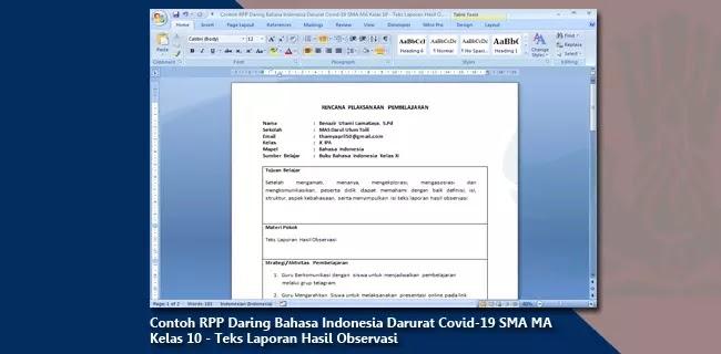 Contoh RPP Daring Bahasa Indonesia Darurat Covid-19 SMA MA Kelas 10 - Teks Laporan Hasil Observasi