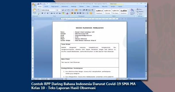 Contoh Rpp Daring Bahasa Indonesia Darurat Covid 19 Sma Ma Kelas 10 Teks Laporan Hasil Observasi Arsip Guru