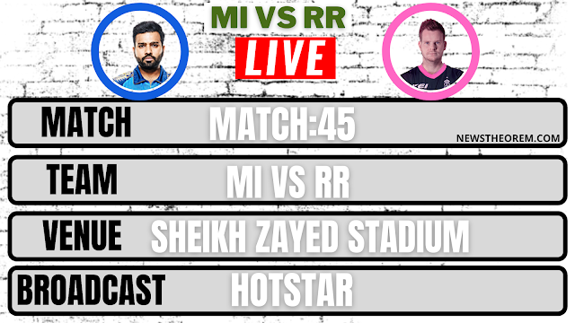 Mumbai Indians vs Rajasthan Royals , Match 45 : Live Streaming,