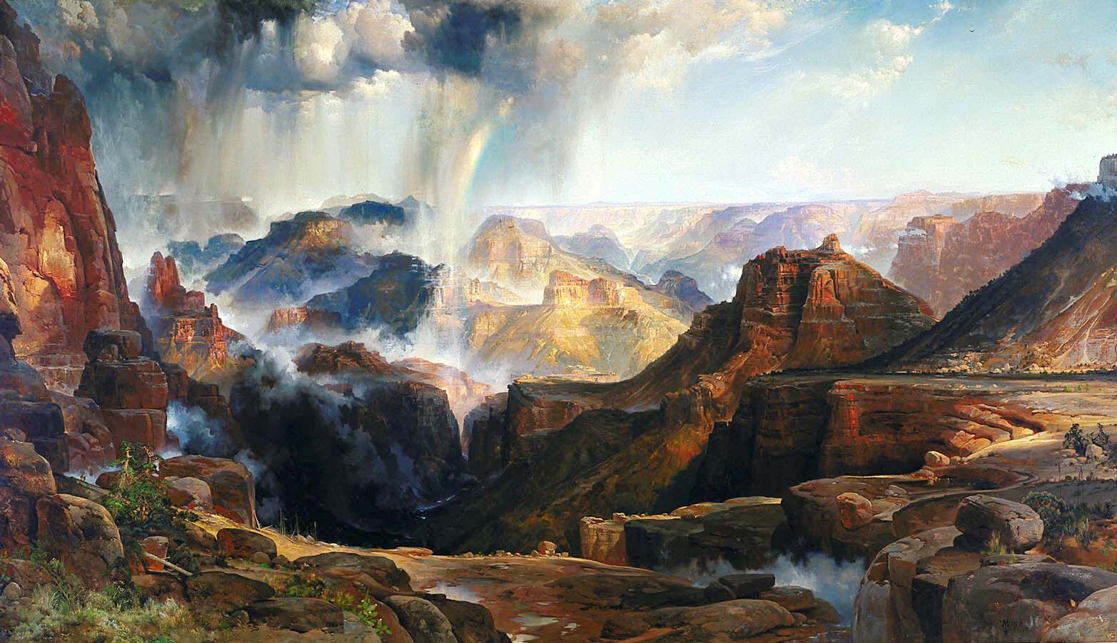 Yosemite Falls Wallpaper 19th Century American Paintings Thomas Moran Ctd