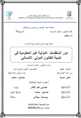 مذكرة ماستر: دور المنظمات الدولية غير الحكومية في تنمية القانون الدولي الإنساني PDF