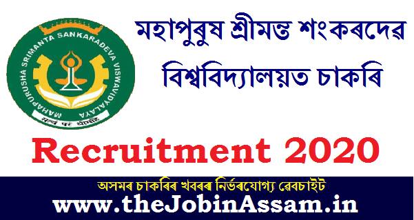 Mahapurusha Srimanta Sankaradeva Viswavidyalaya, Nagaon Recruitment 2020
