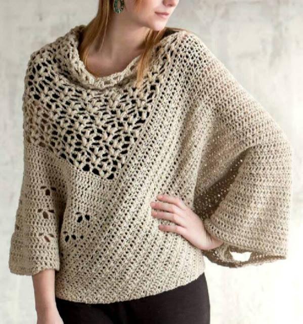 Patrón #807: Poncho a Crochet