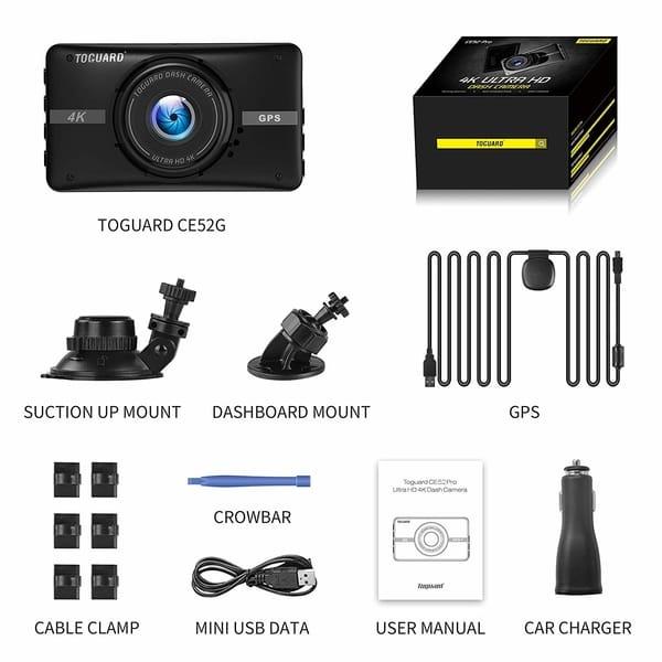 TOGUARD CE52G 4K UHD Dash Cam With GPS