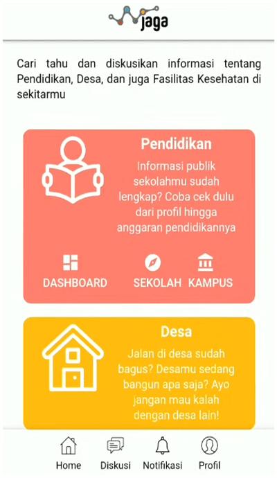 menu pendidikan di situs jaga