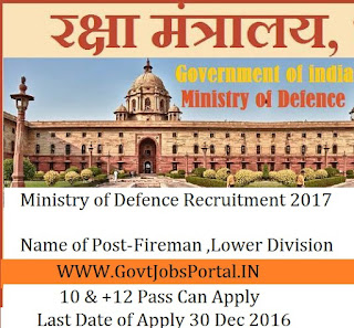 Ministry of Defence Recruitment for Clerk Posts 2017 ( 63 Posts)