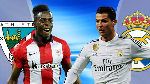 Đêm nay,  Athletic Bilbao – Real Madrid sẽ quyết chiến