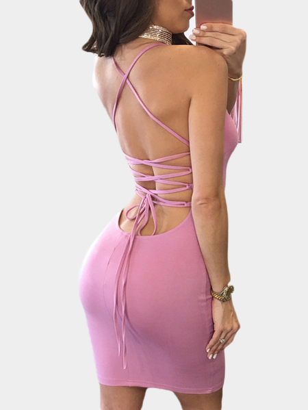 Sexy Sleeveless Lace-up Back Bodycon Party Dress In Pink