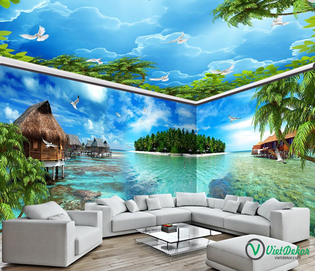 Tranh dán tường 3d phong cảnh bãi biển cò bay