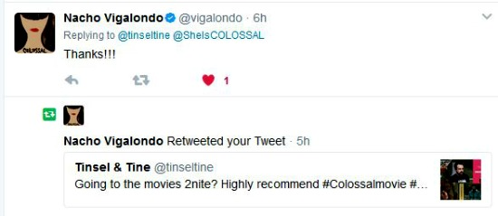 Embeded Tweet Response from filmmaker Nacho Vigalondo